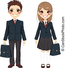 Brother And Sister Students - Two cute teenage brother and...