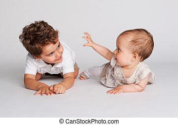 brother., menina bebê, toddler, dela