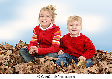 Brother Sister Leave - Brother and Sister in red sweaters...