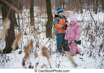 brother with sister in forest in winter