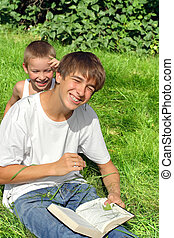 Brothers Have Fun Outdoor - Happy Brothers have Fun in the ...