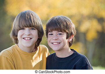 Brothers in the Fall - Brothers Smiling Big in the Fall...