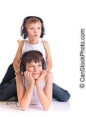 Brothers listening to music