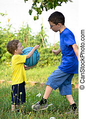 Brothers playing ball