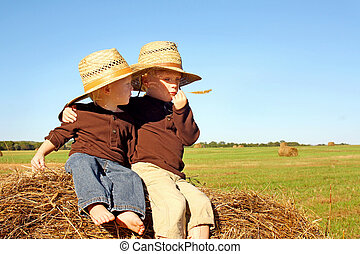 Brothers Sitting on Hay Bale on Farm - Two young children, a...