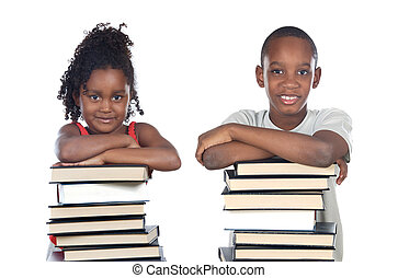 brothers supported on a stack of books