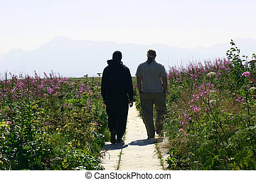 Brothers walking down a path