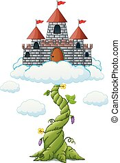 broto, feijão, nuvens, castelo, caricatura