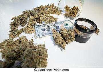 broto, notas, dinheiro, cannabis, pretas, dólares., market., weed., marijuana