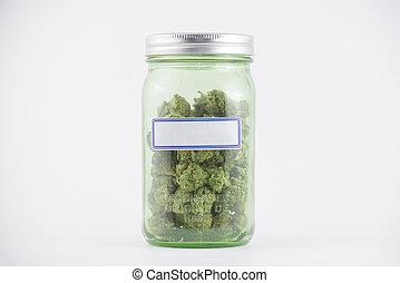 brotos, cannabis, jarro, detalhe, isolado, vidro, verde branco