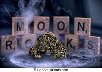 brotos, flor, revestido, marijuana, lua, cannabis, óleo, pó...