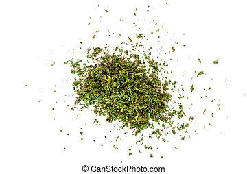 brotos, marijuana, isolado, erva daninha, cannabis, branca, esmagado