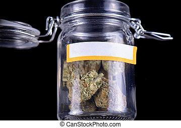 brotos, (maui, cannabis, sobre, strain), jarro, isolado, vidro, experiência preta, gambá