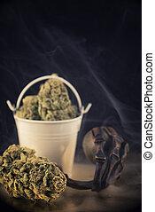 brotos, (nuken, strain), detalhe, marijuana, escuro, cannabis, fundo