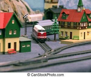 brotschneidebrett, modell, von, der, railway., kumpel