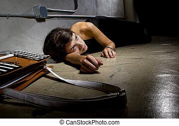 brott, offer, på streeten, golv