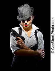 brottsling, flicka, med, gevär, isolerat, på, svart