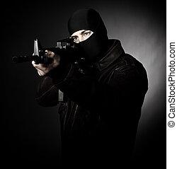 brottsling, med, gevär