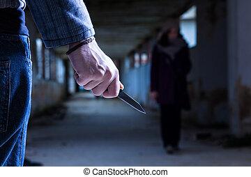 brottsling, med, kniv