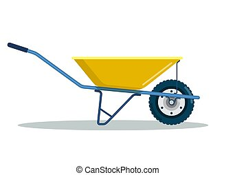 brouette, équipement, jaune, outillage, jardin