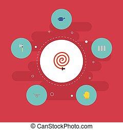 brouette, plat, ensemble, jardinage, elements., latex, icônes, objects., inclut, symboles, aussi, vecteur, hache, brouette, bailer, haie, autre
