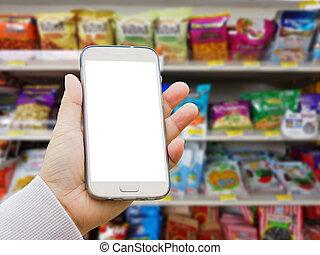 brouillé, conditionnement, séché, vide, fou, pull-over, divers, tenue, écran, intelligent, étagère, marque, supermarché, main, téléphone, fond, vente, stand, fruits, asiatique, ou, gauche