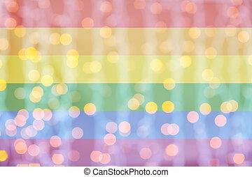 brouillé, doré, lumières, sur, arc-en-ciel, drapeau, fond
