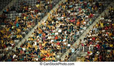 brouillé, foule, de, gens dans, stade