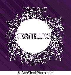 brouillé, les, concept, mot, édition, coloré, texte, disarrayed, activité, écriture, business, entourer, public, histoires, notes, vide, musical, circle., storytelling., icône