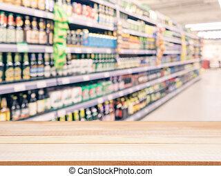 brouillé, produits, supermarché, coloré, étagères