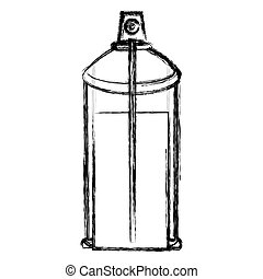 brouillé, pulvérisation, interne, boîte aérosol, bouteille, vue, contour, icône