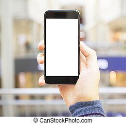 brouillé, téléphone portable, fond, main, vide