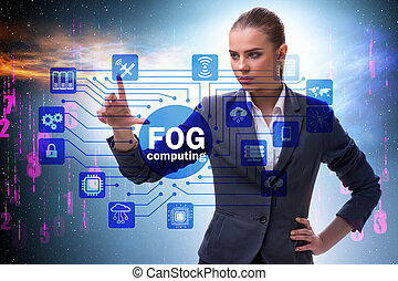 brouillard, calculer, concept, homme affaires, bord