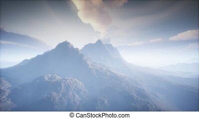 brouillard, cratère, volcan, paysage