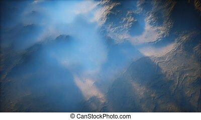 brouillard, gamme, vallées, lointain, mince, couche, montagne