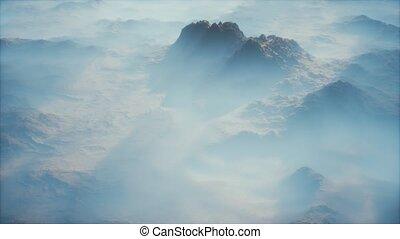 brouillard, montagne, couche, vallées, lointain, gamme, mince