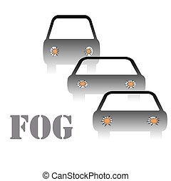 brouillard, panneau avertissement