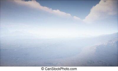 brouillard, paysage, cratère, volcan