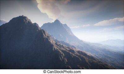 brouillard, paysage, volcan, cratère