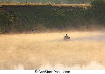brouillard, peche, homme