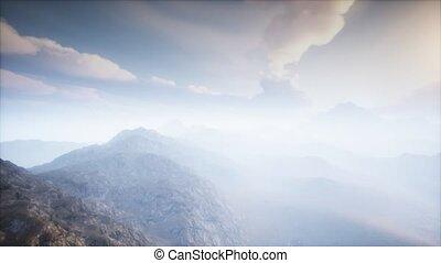 brouillard, volcan, paysage, cratère