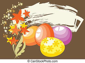 broun, イースター, 背景, 卵