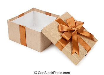 Broun box with gifts and bow isolated on white background