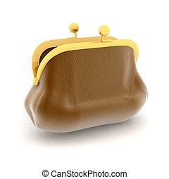 broun purse  on a white