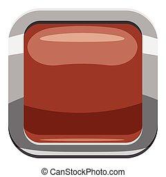 Broun square button icon, cartoon style