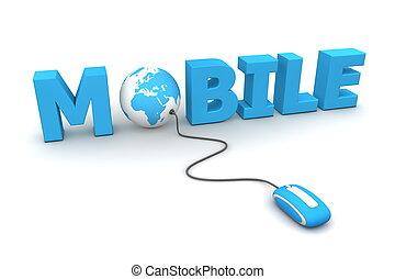 brouter, mobile, bleu, souris, -