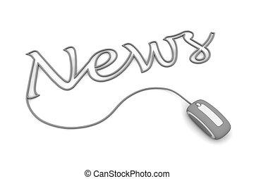 brouter, nouvelles, gris, câble