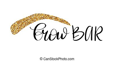 Brow bar hand drawn lettering with glitter silhouette of ...