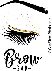 Brow bar logo. Vector illustration of lashes and brow. For...