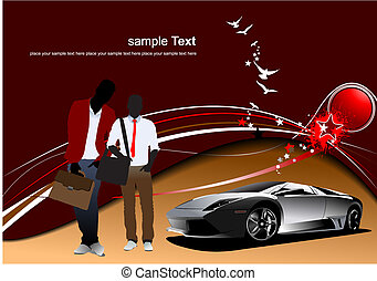 Brown abstract background with men and car image. Vector illustration